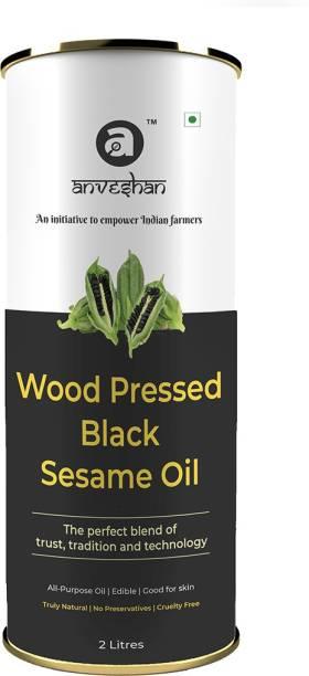 Anveshan Wood Pressed Black Sesame Oil, (Pure Kolhu/ Kachi Ghani/ Wooden Chekku Tel) Sesame Oil Tin