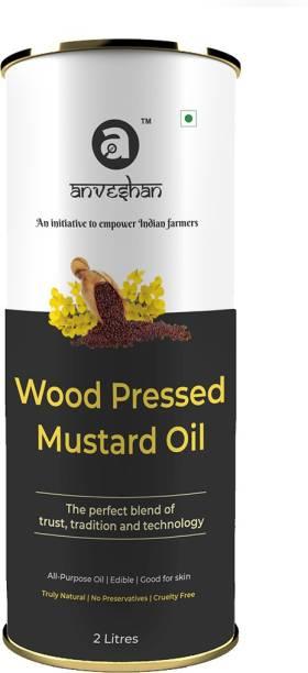 Anveshan Wood Pressed Black Mustard Oil, (Pure Kolhu/ Kachi Ghani/ Wooden Chekku Tel) Mustard Oil Tin