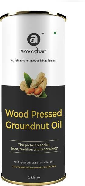 Anveshan Wood Pressed Groundnut Oil, (Pure Kolhu/ Kachi Ghani/ Wooden Chekku Tel) Groundnut Oil Tin