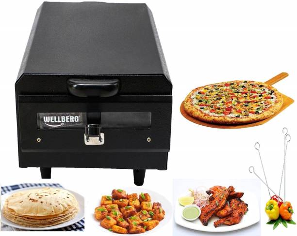 Wellberg Heavy Weight Electric Tandoor with Pizza Cutter,Recipe Book,Nonstick Sheet,Grill,4 Skewers,Glove(Size Mini) Electric Tandoor Pizza Maker