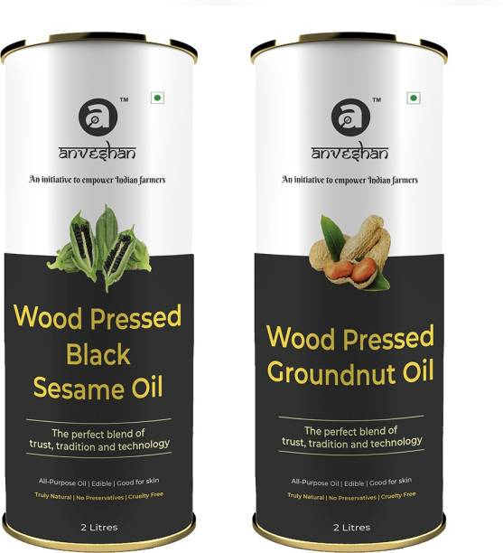 Anveshan Wood Pressed Black Sesame Oil and Groundnut Oil, 2L Tin Can (Pure Kolhu/ Kachi Ghani/ Wooden Chekku Tel) Combo