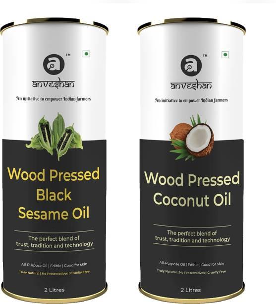 Anveshan Wood Pressed Black Sesame Oil and Coconut Oil, 2L Tin Can (Pure Kolhu/ Kachi Ghani/ Wooden Chekku Tel) Combo