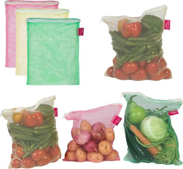 Trisha Crafts Fridge Bag, Vegetable Storage Bag For Fridge, Reusable Storage Fridge Bag, Sustainable Eco Friendly Fridge Bag Pack of 6 Grocery Bags