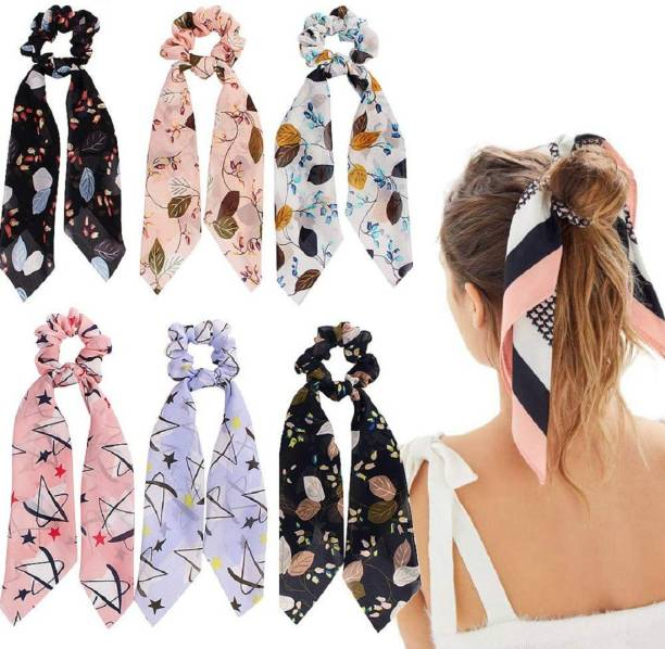 AZEFFIA Women Hair Ribbon Scrunchies Ties Satin Floral Scarf Chiffon Hair Bands Ponytail Holders Scrunchy Girls Elastic Bow Accessories (Random Color )(PACK OF 6 pc) Rubber Band Rubber Band