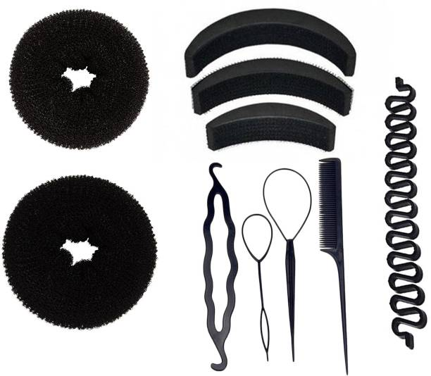 BELLA HARARO Hair Accessories set of 10pcs 4 pcs braid tool 2 pcs hair donut bun maker 3 pcs hair volumizer 1 pcs braid tools Hair Accessory Set (Black) Hair Accessory Set