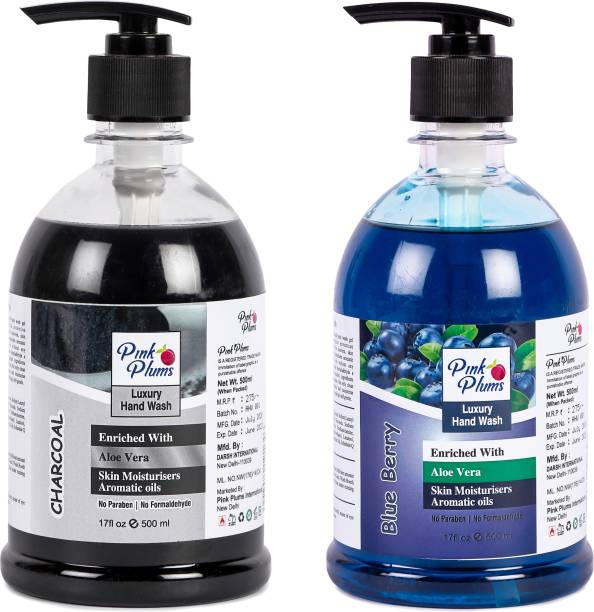 PINK PLUMS Germ Protection Charcoal and Blueberry Liquid Handwash Enriched with Aloe Vera Skin Moisturisers, COMBO Pack of 2, Each 500ml Hand Wash Pump Dispenser