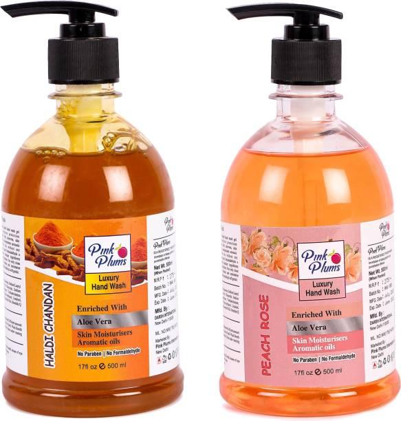 PINK PLUMS Germ Protection Haldi Chandan and Peach Rose Liquid Handwash Enriched with Aloe Vera Skin Moisturisers, COMBO Pack of 2, Each 500ml Hand Wash Pump Dispenser