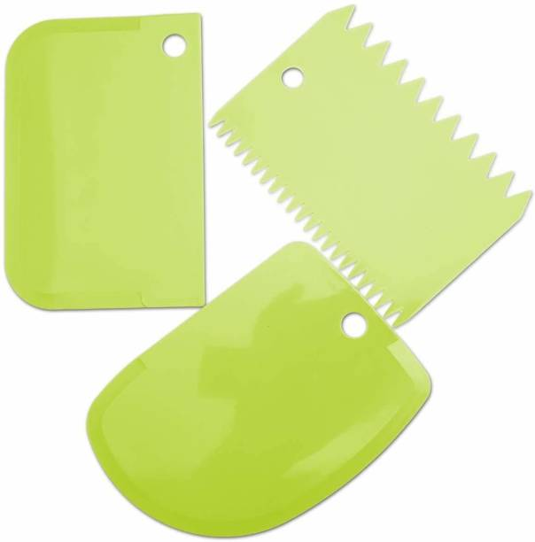 Tuelip 3pcs/Set Plastic Dough Bench Scraper Cake Cutter, Chopper, Smoother Icing Fondant Cake Decorating Pastry Baking Tool Baking Comb