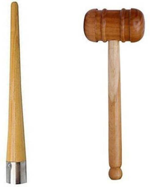 Rockjon Set Of Cricket Bat Double Sided Knocking Hammer with Cricket Bat Handle Cone Wooden Bat Mallet