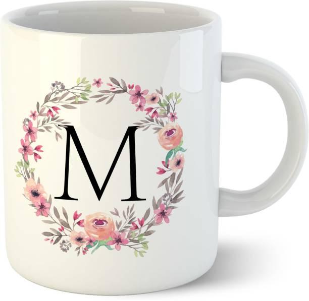 Chiraiyaa Colorful Floral Letter Alphabet M White Ceramic Coffee Mug
