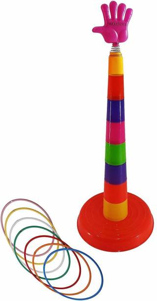 JUBLYN Plastic Ring Toss Quoits Hoopla Throw Game for Toddlers