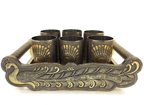 Luximal Oxidised Decorative Stainless Steel Meenakari Peacock Design Rajwadi Handicraft Dry fruit Wooden Serving Tray with 6 Designer Glass Tray Set For Diwali, Family, Home And Office Use Tray Serving Set