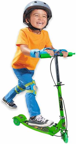 OSHO ENTERPRISE 3 Wheeler Foldable Scooter with Brake and Bell, LED on Wheels and Height Adjustable Up to 76cm for Boys and Girls (4 to 7 Years) (Green) Kids Scooter