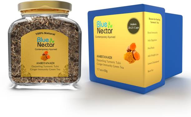 Blue Nectar Amritanadi Darjeeling Immunity Booster Green Tea with Turmeric, Tulsi & Ginger Tulsi Green Tea Glass Bottle