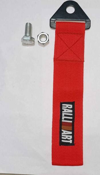 Auto MT RALLI ART RED TOW BELT & STRAP, Premium Red Universal Front & Rear Tow Strap/Tow Hook Ribbon 0.2 m Towing Cable