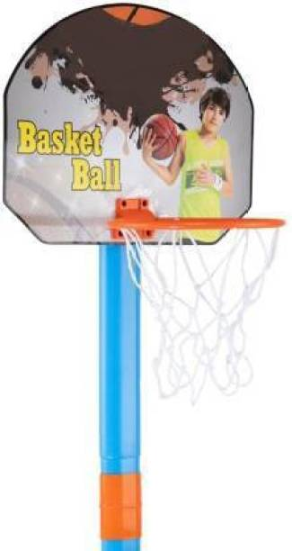 CYNIX 2 in1 Basketball Set with Adjustable Stand and Magnetic Dart Game for Kids for Indoor and Outdoor use (Rubber Basketball and 3 Darts Included in The Box) (Multi Colour) Basketball