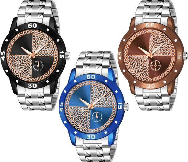 RIXOS NEW STYLISH MULTI COLOR DIAL-SILVER STEEL STRAP SET OF 3 Analog Watch Analog Watch  - For Boys