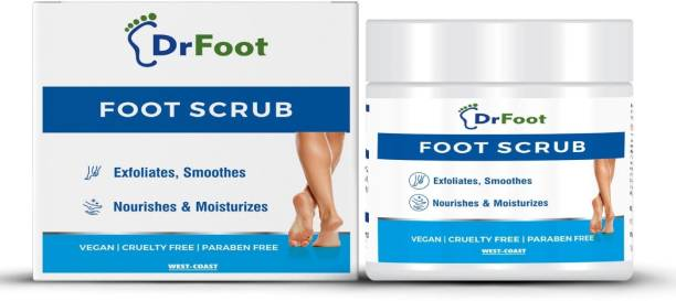 Dr Foot Foot Scrub with Tea Tree, Sweet Almond Oil | Exfoliator Dry Skin Remover, Softens for Thick Cracked Dry Heel Feet | Paraben Free | 100gm Scrub