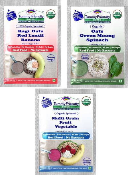 TummyFriendly Foods USDA Certified Stage3 Porridge Mixes Trial Packs - Ragi, Oats, MultiGrain |Organic Baby Food for 8 Months Old Baby |3 Packs, 50g Each Cereal