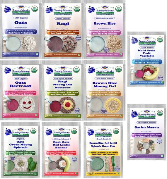TummyFriendly Foods USDA Certified Stage1, Stage2, Stage3 Porridge Mixes | Organic Baby Food for 6,7,8 Months Old Baby |Trial Packs - 11 Packs, 50g Each Cereal