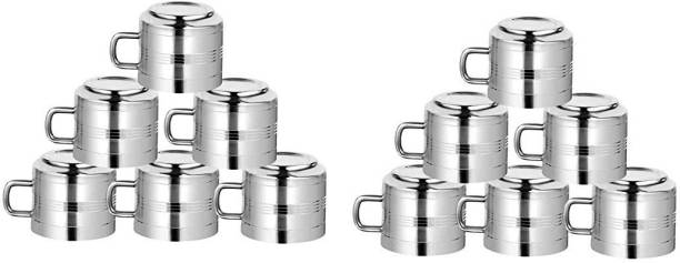 MOOZICO Stainless Steel Stainless Steel Tea and Coffee Cups Set of 12Latest Design Stylish, 120 Ml, Silver -Set of 12