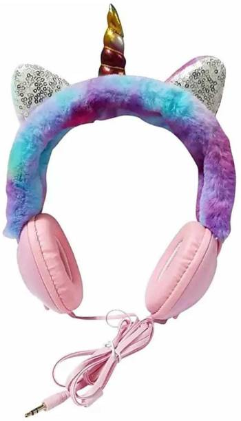 Goods collection Unicorn Soft Fur Headphones for Girls Wired 3.5mm Jack with Mic Wired Headset (Multicolor, PINK On the Ear) Ear Muff