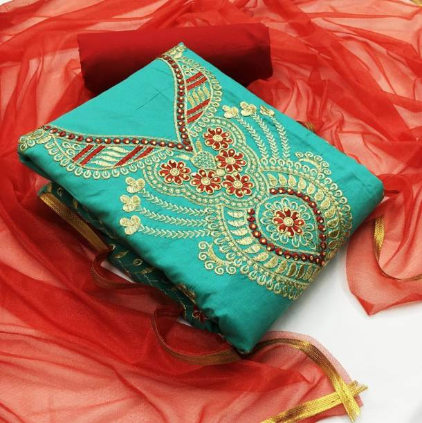 Earth Enterprise Cotton Embroidered Salwar Suit Material