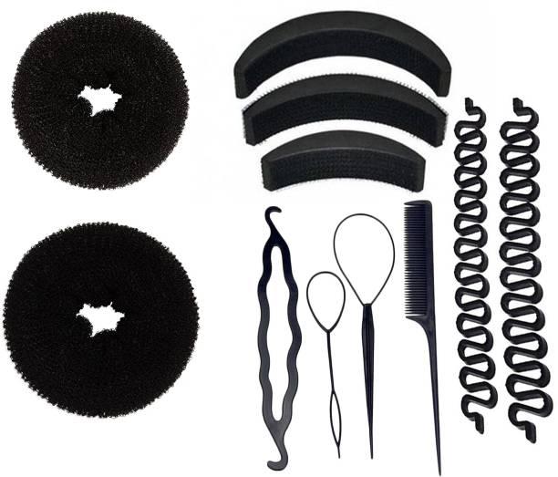 BELLA HARARO Hair Accessories set of 10pcs 4 pcs braid tool 2 pcs hair donut bun maker 3 pcs hair volumizer 2 pcs braid tools Hair Accessory Set (Black) Hair Accessory Set