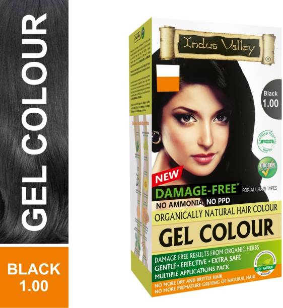 Indus Valley Damage Free Gel Hair Color - Black , Black