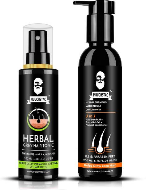 MUUCHSTAC Herbal Grey Hair Tonic & Herbal Shampoo with Inbuilt Conditioner