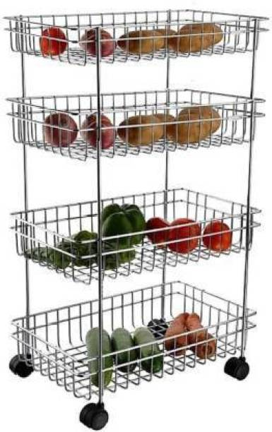 3D METRO SUPER STORE Kitchen Trolley Portable Modern Storage Rack Design Fruits & Vegetable Onion Cutlery, Spice, Pickles Jars Container Basket Organizer Holder Stand for Kitchen (S.S 4 Layer) Fruits/Vegetables Kitchen Rack