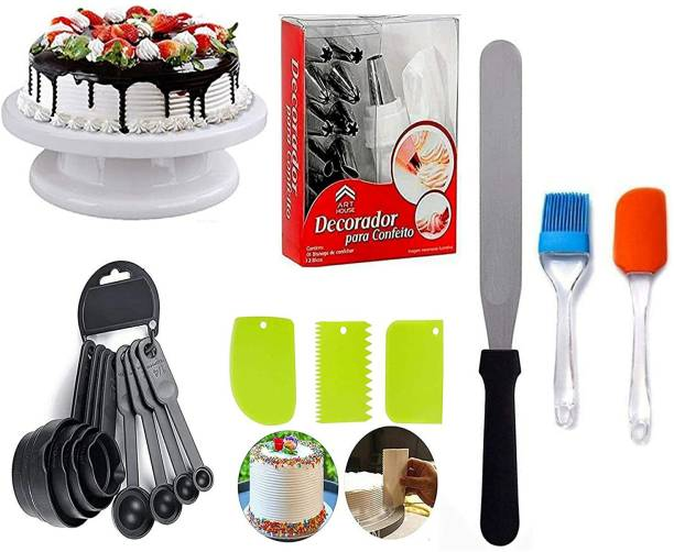 ZIANPLUS cake combo4 BAKEWARE COMBO Cake Turntable & 12 pc Nozzle Set & Spatula, Brush & 8 Measuring Cup & Spoon and Pallet Knife & 3pc Scraper for Cake (Multicolor) Multicolor Kitchen Tool Set