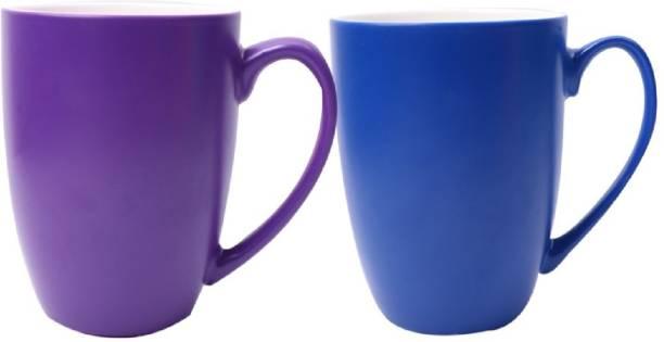SUPER99 CERAMIC PURPLE-NAVYBLUE COFFEE MUG 350 ML. PACK OF 2 Ceramic Coffee Mug
