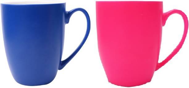 SUPER99 CERAMIC NAVYBLUE-PINK COFFEE MUG 350 ML. PACK OF 2 Ceramic Coffee Mug