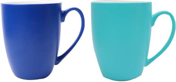 SUPER99 CERAMIC NAVYBLUE & BLUE MUG 350 ML. PACK OF 2 Ceramic Coffee Mug