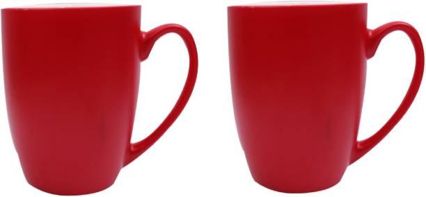 SUPER99 CERAMIC RED COFFEE MUG 350 ML. PACK OF 2 Ceramic Coffee Mug
