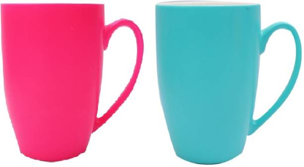 SUPER99 CERAMIC PINK-BLUE COFFEE MUG 350 ML. PACK OF 2 Ceramic Coffee Mug