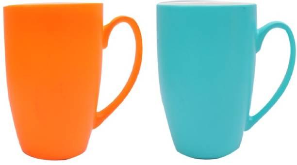 SUPER99 CERAMIC ORANGE-BLUE COFFEE MUG 350 ML. PACK OF 2 Ceramic Coffee Mug