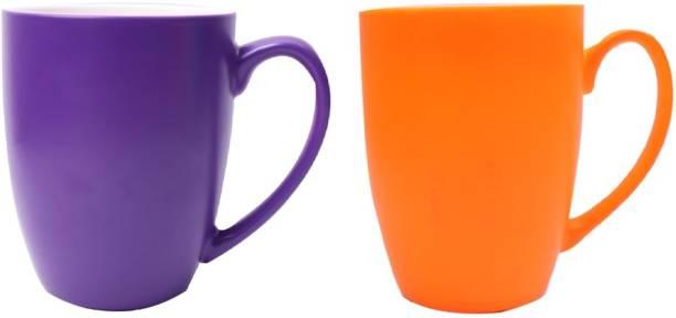 SUPER99 CERAMIC PURPLE-ORANGE COFFEE MUG 350 ML. PACK OF 2 Ceramic Coffee Mug