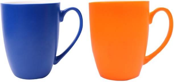 SUPER99 CERAMIC NAVYBLUE-ORANGE MUG 350 ML. PACK OF 2 Ceramic Coffee Mug