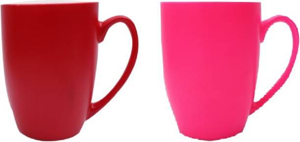 SUPER99 CERAMIC RED-PINK COFFEE MUG 350 ML. PACK OF 2 Ceramic Coffee Mug