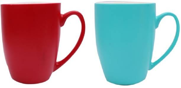 SUPER99 CERAMIC RED-BLUE COFFEE MUG 350 ML. PACK OF 2 Ceramic Coffee Mug