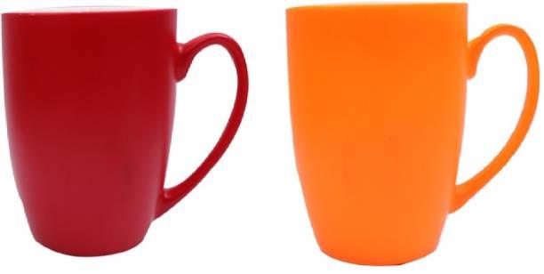 SUPER99 CERAMIC RED-ORANGE COFFEE MUG 350 ML. PACK OF 2 Ceramic Coffee Mug