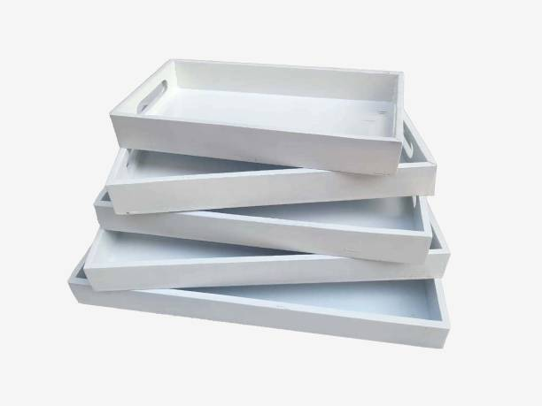 OnlineInitiative Handmade Rectangular Premium Wooden Serving Tray for Dinning Table Restaurant Home Office Kitchen ( White ) Tray