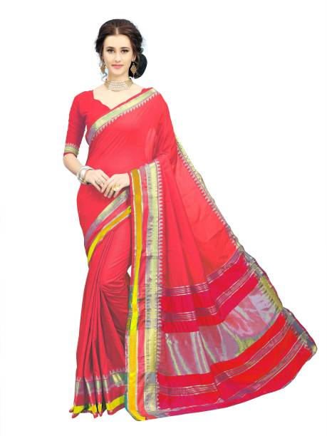 Sanku Fashion Embroidered, Woven, Solid Kanjivaram Cotton Blend, Art Silk Saree