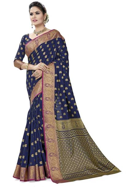 Sanku Fashion Embroidered, Woven Kanjivaram Cotton Blend, Art Silk Saree