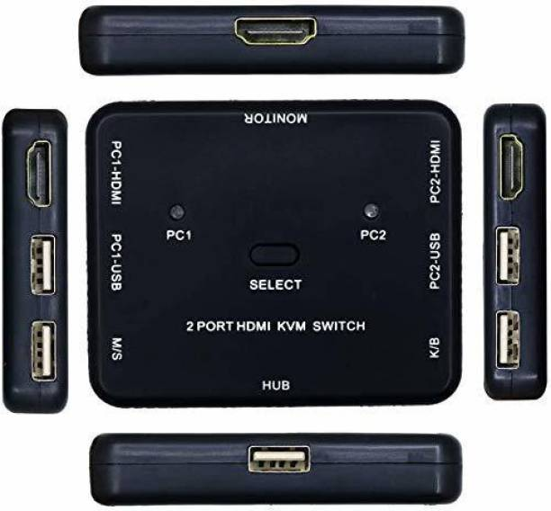 VIBOTON HDMI KVM Switch 2 Ports Share 2 Computers with One Monitor 2x1 USB KVM Switch for USB Keyboard Mouse Sharing Device for Computer, PC, Laptop, Desktop, Monitor, Printer, Keyboard, Mouse Control Media Streaming Device