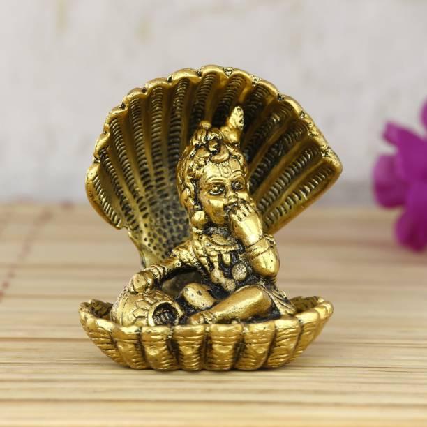 eCraftIndia Golden Bal Gopal Krishna having Makhan Decorative Decorative Showpiece  -  9 cm
