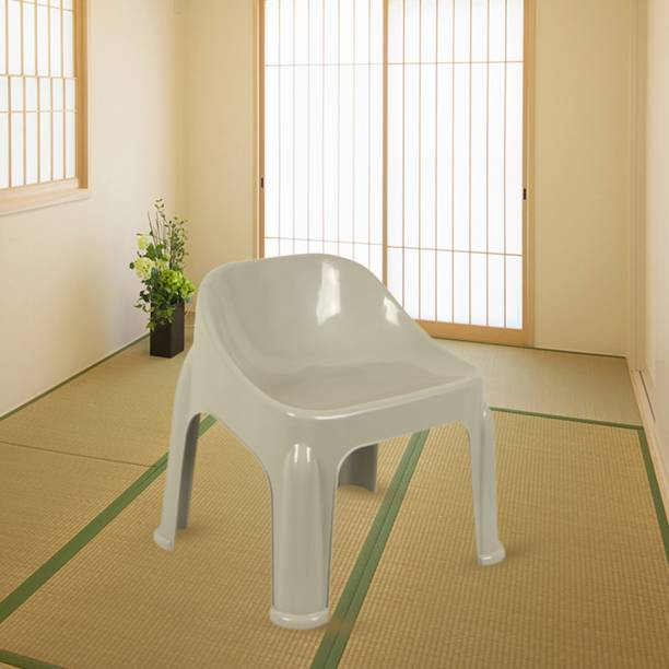 Muchmore Strong and Durable Plastic Backrest Stool Chair holds weight upto 85 kgs Light-Grey Plastic Outdoor Chair