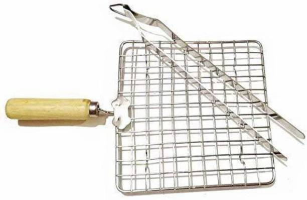 A2SK Roasting Net with Steel Tong Stainless Steel Wire Roaster, Papad Jali,Roti Grill,Chapati Grill Square 17 cm, 27 cm Utility Tongs